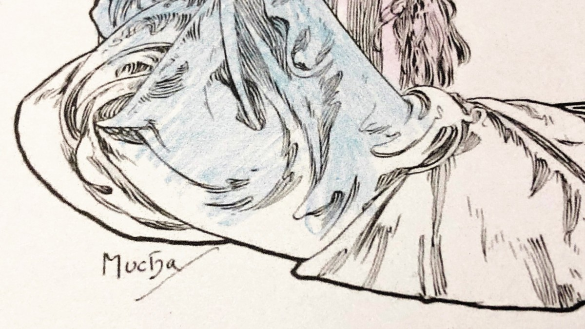ミュシャ塗り絵 ミュシャのサイン