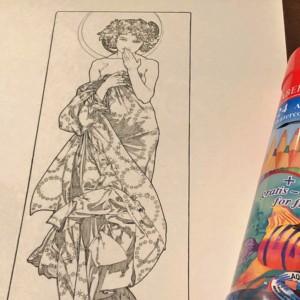 ミュシャ塗り絵 水彩色鉛筆